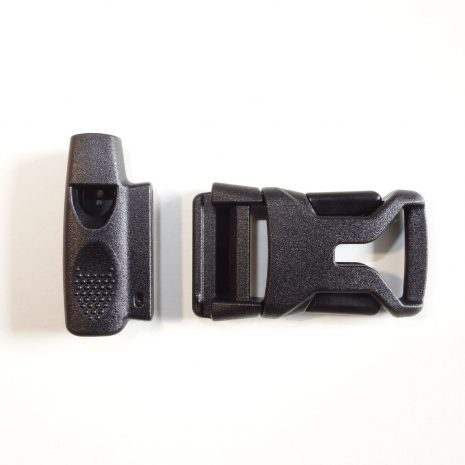 Sternum strap buckle with whistle